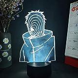 Árbol de Navidad Uchiha Obito Figura 3D Luz visual nocturna LED Sensor táctil Otaku Luz incandescente Naruto Anime Dormitorio Luz Arte Decoración Luz