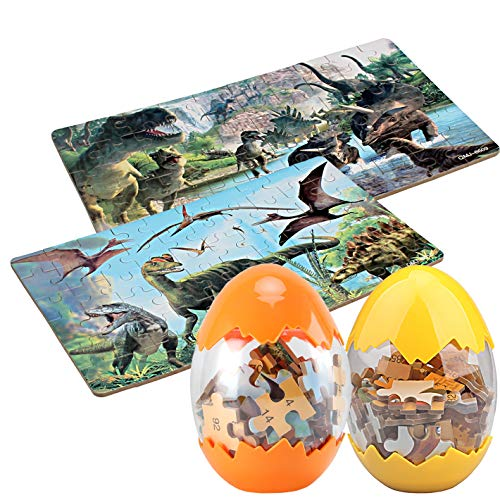 Dinosaur Puzzle, Wooden Puzzles 60 Pieces Puzzles for Kids 3 Years+ Dino Toys 2 Pack Boys Girls Gift