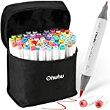 Ohuhu Alcohol Brush Markers, Double Tipped Sketch Markers for Kids, Artist Art Markers, Adults Coloring and Illustration, 72 Unique Colors + 1 Alcohol Marker Blender + Marker Case, Fine & Brush Tip