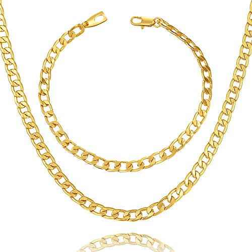 """WELRDFG Men Chain Jewelry 5mm/6mm/7mm Wide Stainless Steel Snake chain 18K Gold Plated Figaro Chain Set (Bracelet 8.3 Inch, Necklace 18"""" 22"""" 26"""" 28"""" ) (Cuban chain 18k-gold-plated (5mm wide), 28.0)"""