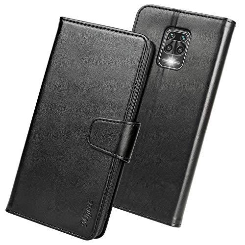 Migeec Funda Xiaomi Redmi Note 9 Pro - Soporte Plegable Cierre Magnético Funda Piel con Ranura para Tarjeta Carcasa para Xiaomi Redmi Note 9 Pro, Negro