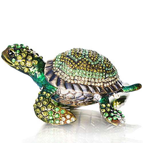 Waltz&F Diamond turtles Hinged Trinket Box Hand-painted Animal Figurine Collectible (green)