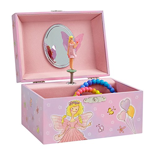 (Pink Fairy With Heart Balloons) - Musical Jewellery Box with Pink Fairy and Heart Design