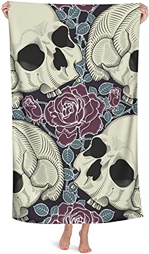 LUYIQ Beach Towels,Microfibre Beach Towels Large,Skull Flowers,52x32 Inches,Sand Free,Quick Dry,Lightweight Beach Towels for Sports,Swimming,Yoga,Gym,Travel,Camping