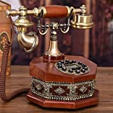 レトロな電話、ファッションクリエイティブギフト、ホームスタイルアメリカン、電話ハンズフリーバックライト付きファブリックデラックスバージョンロープツインベル