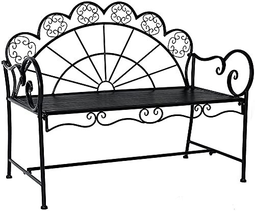 Muebles de jardín de metal 2 personas Black 2 módulos, banco de asientos de banco de jardín, su sofá está hecho de metal de alta calidad, fácil de montar,C