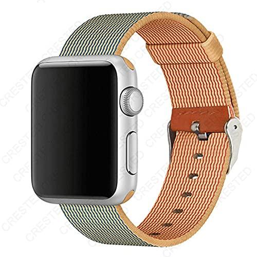 Ternzun Nato Correa para Apple Watch Band 44mm 40mm 42mm 38mm iwatch pulsera de nylon tejido para Apple Watch Band 5 4 3 SE 6 (38mm 40mm, oro azul real)