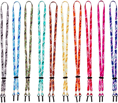Visionattic lanyards for face Masks Camouflage Necklace Ear Saver Cords Chains Holder for Women and Men Adults 10 PCS Adjustable Clips