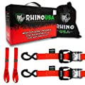 """RHINO USA Ratchet Straps Motorcycle Tie Down Kit, 5,208 Break Strength - Includes (2) Heavy Duty 1.6"""" x 8' Rachet Tiedowns with Padded Handles & Coated Chromoly S Hooks + (2) Soft Loop Tie-Downs (RED) by Rhino USA"""