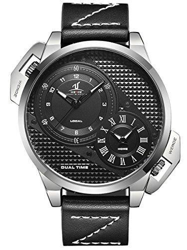 Alienwork Reloj Hombre Relojes Piel de Vaca Negro Analógicos Cuarzo Plata Impermeable XXL Oversized