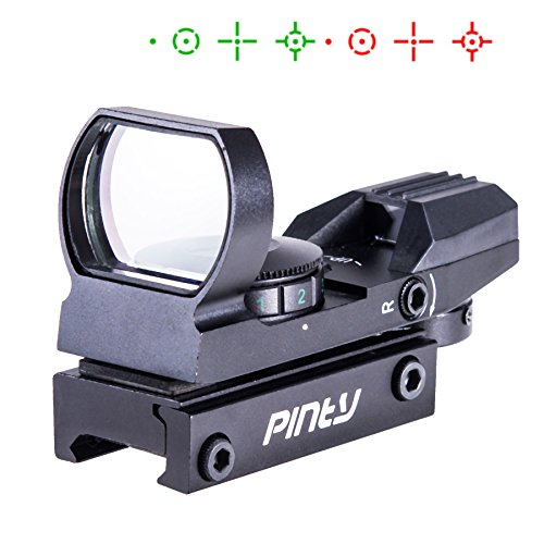 Pinty Red Green Dot Sight Reflex Holographic Tactical Riflescope 4 Reticle Patterns with 20mm Free Mount Rails