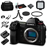 Panasonic Lumix DC-S1R Mirrorless Digital Camera (Body Only) (DC-S1RBODY) - Bundle - with LED Video Light + Soft Bag + 12 Inch Flexible Tripod + Cleaning Set