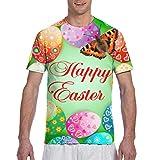 Zhgrong Sfondo di Pasqua con Uovo E Farfalla Divertente T-Shirt Grande E Alta