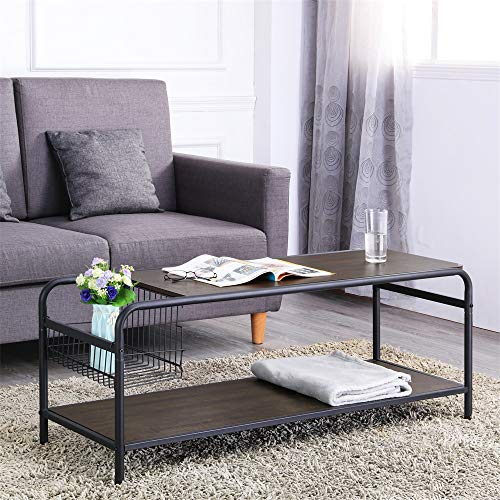 FIVEGIVEN Industrial Coffee Table withStorage for Living Room Rectangle Wood Coffee Table with...