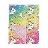 Custom Name Unicorn Blankets and Throws for Girls - Pink Soft Lightweight Minky Dot Unicorn Blanket for Girls - Toddler Blankets for Girls Throw Blankets for Kids - Unicorn Toddler Bedding Meteor