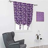 Cortina geométrica para ventana de baño, composición con cuadrados en tonos morados, estilo retro y funky cortina de baño con amarre de sombra, color morado malva blanco, 99 x 162 cm