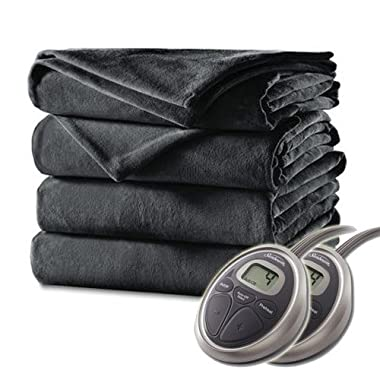 Sunbeam - Queen Size Heated Blanket Luxurious Velvet Plush with 2 Digital Controllers and Auto-off Feature - 5yr Warranty, Charcoal