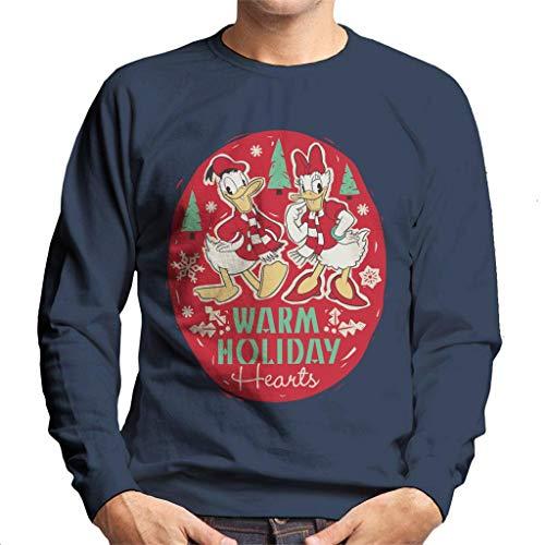 Disney Christmas Donald and Daisy Duck Holiday Hearts Men's Sweatshirt