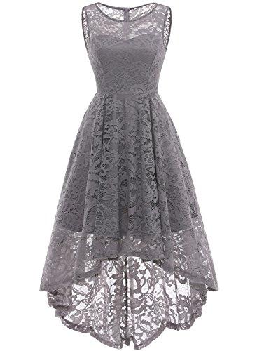 MUADRESS Vestido Cóctel Vintage A-línea Hi-Lo Elegante Mujer Flor Encaje Vestidos De Fiesta Gris M
