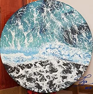 "Home Decor Painting Acrylic Ocean Waves Round Canvas 12"" TYA'S ART"