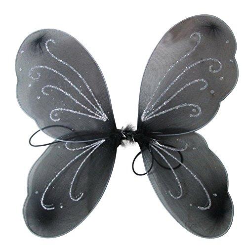 EFINNY Mädchen bunter Flügel Prinzessin Schmetterling Zauberfee Partei Halloween gillter Geburtstag Cosplay Zubehör Eine Größe Schwarz