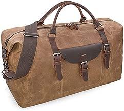 Oversized Travel Duffel Bag Waterproof Canvas Genuine Leather Weekend bag Weekender Overnight Carryon Hand Bag Brown