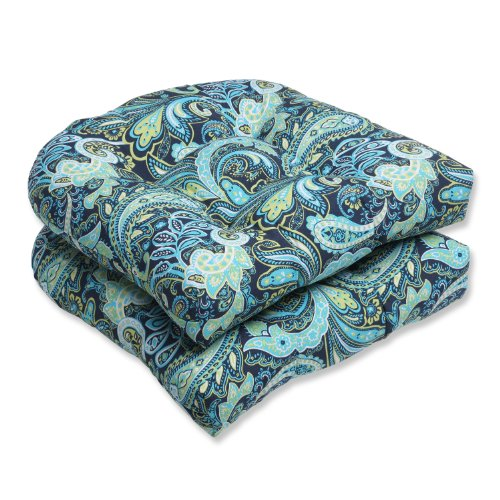 Pillow Perfect Outdoor Pretty Paisley Wicker Seat Cushion Blue Set of 2
