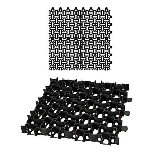 8x Rasengitter Paddockplatte SCHWARZ 50x50 cm Reitplatzmatten Rasenmatten Rasenwaben Kiesgitter Parkplatzrasen 2 m