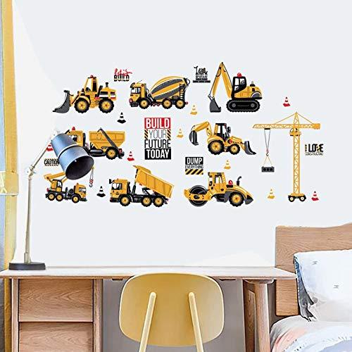 Etiqueta de la pared carro de la historieta Excavadora Tractor del coche de Ingeniería, el vinilo desprendible del hogar del arte del cartel, for niños Sala de juegos de niños y de decoración de inter