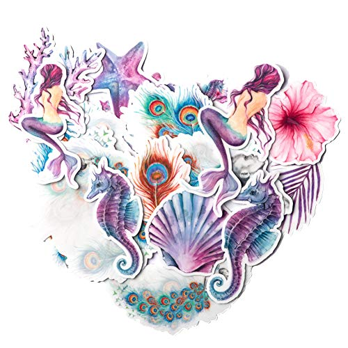 Navy Peony Mystical Mermaid Stickers and Decals (21 Pieces) | Aesthetic Stickers for Water Bottles and Phone Cases | Unique Party Favor for Girls | Waterproof Stickers for Tumblers and Laptops