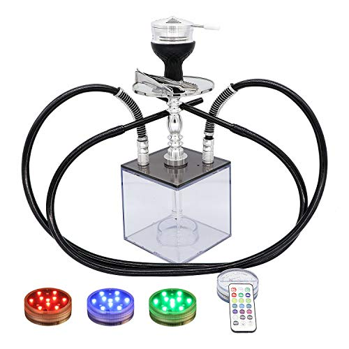 RAHVISH Modern Acrylic LED Hookah Set with Overall Upgraded Accessories 1 or 2 Hose Variable Design with Magical Remote LED Light(13INCH)