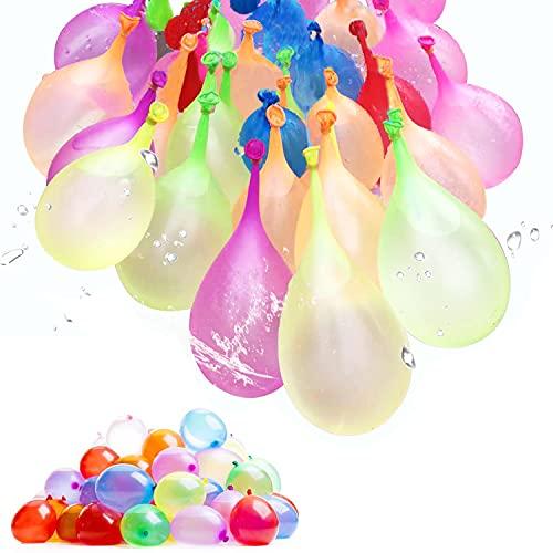 RoserRose 222 Piezas Globos de Agua para Fiesta de Color Loco de Llenado Rápido, 3 manojos x 37 Globos, 222 Globos de Agua en 60 Segundos, Autosellado sin Nudos, Water Bombs, para Niños y Adultos