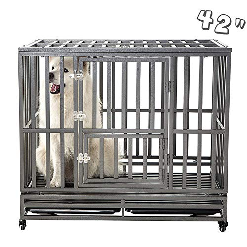 """SMONTER 42"""" Heavy Duty Strong Metal Dog Cage"""