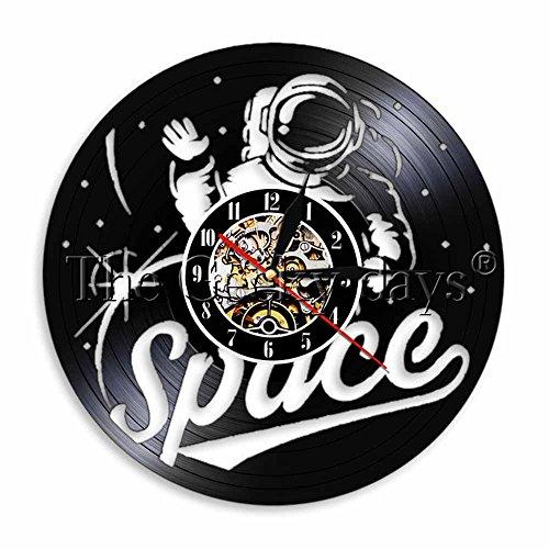 FDGFDG Raum Raum Wanduhr Raumanzug Vintage Vinyl Schallplattenuhr Astronaut dekorative handgemachte Uhr Geschenk für Raumfahrer