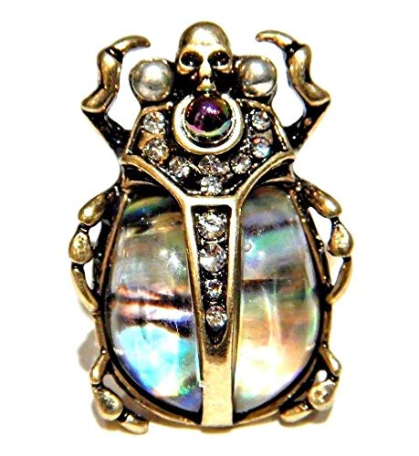 Abalone Shell Scarab Beetle Finger Ring with Crystals & Skull Head sz US 7