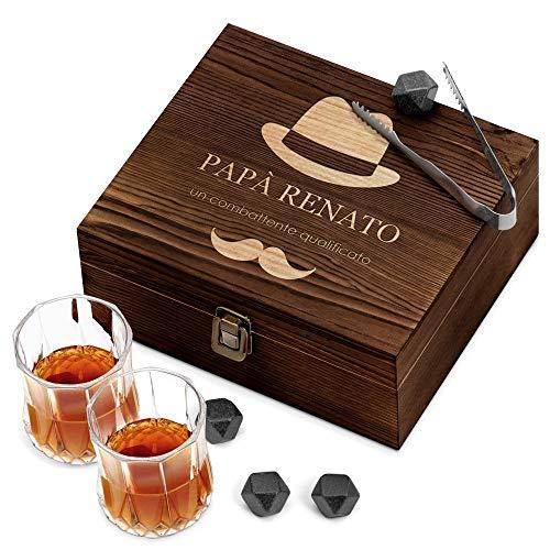 Murrano Set di Pietre da Whisky - in un cofanetto con incisione personalizzata - 8 cubetti di ghiaccio + 2 bicchieri - riutilizzabili - in granito - idea regalo per lui - cappello