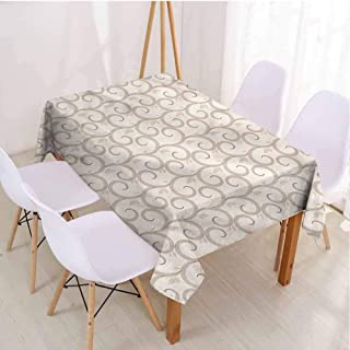 VICWOWONE Camping Picnic Rectangle Tablecloth Cream Protection Table Abstract Continuous Leaves,Rectangle - W70 x L120 inch