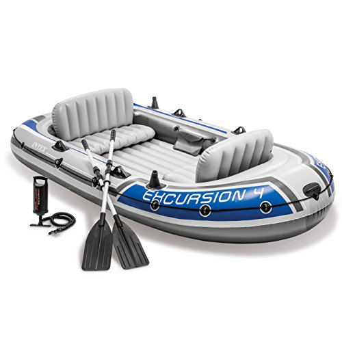 Great Deal! Intex Excursion 4, 4-Person Inflatable Boat Set with Aluminum Oars and High Output Air P...