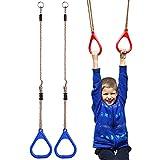 YIFEIKU Co.,Ltd. Anillos de gimnasio para niños con barra de trapecio para el gimnasio, parque de juegos para el hogar, accesorios para interiores y exteriores, equipos de fitness, azul