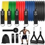 Juego de bandas de resistencia para fitness, 12 unidades, 150 kg, de látex natural con anclaje para puerta, correa para tobillo, para entrenamiento de resistencia, fisioterapia, entrenamiento en casa