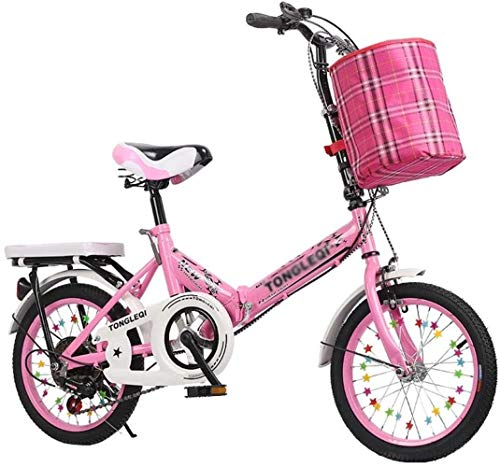 Statues Bicycles Folding Outdoor Adult Bicycle Courier Bike 5~13 Years Old Displacement Bike Exercise Bike Beautiful Bicycle BXM Bike (Color : Pink, Size : 16inches)