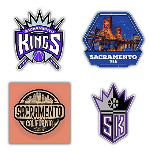 Sacramento City King Basketball Sport Team Logo Symbol Emblem Die-Cut Sticker Label Decal - Set of 4 Pieces in 5'' Longer Side Each