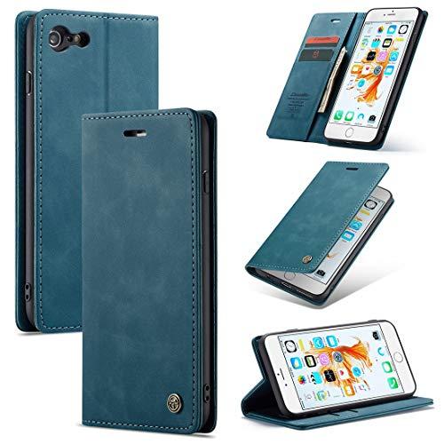 SZCINSEN Funda tipo cartera para iPhone 6Plus de piel sintética premium, 2 en 1 con tapa magnética, piel suave mate + carcasa inferior de TPU con ranura para tarjeta (color azul)