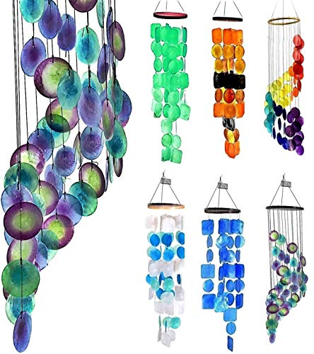 Bellaa 23332 Wind Chimes Outdoor Garden Patio Indoor Home Wood Capiz Handmade 27 Inch Peacock