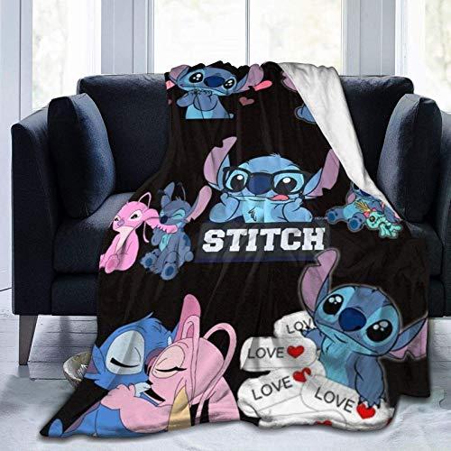 Yuanmeiju Manta de Tiro Lovely Stitch Lilo & Stitch Experiment 626 Empalmado Pavimentado 60 'x50' Manta Franela Aire Acondicionado de Verano Súper Suave Manta Impresa en 3D Sofá Cama para el hogar.