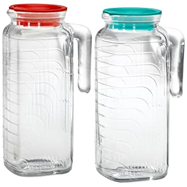 Bormioli Rocco Gelo 2-Piece Glass Pitcher Set with Lids, Red and Green 1.2 liter