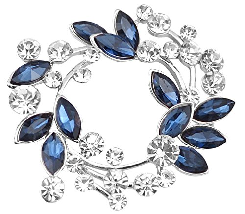 FENGJI Crystal Gold and Silver Plated Round Flowers Brooch Pin Wedding Scarf Brooch (Purple,Blue,White) Silver Blue