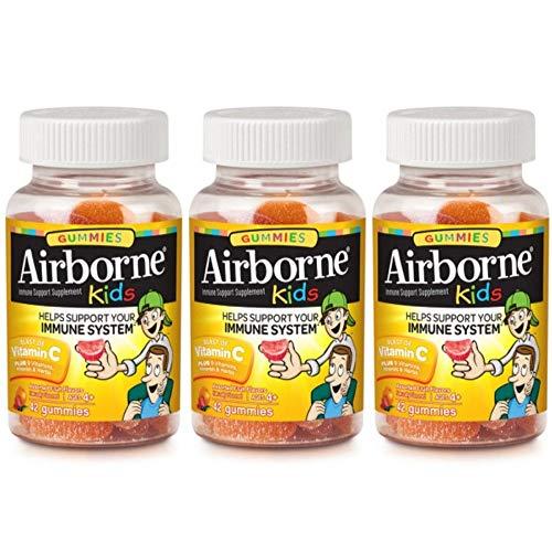 Airborne Kids Gummies Vitamin C Immune Support Supplement, Assorted Fruit Flavors, 42 ct (Pack of 3)