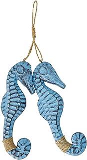 Set of 2 Nautical Wood Seahorses Wall Art Hanging Home Decor, Seahorse Ornament Beach..