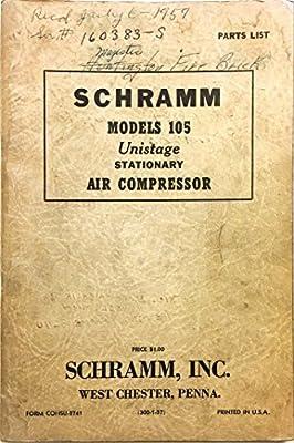 Schramm Models 105 Unistage Stationary Air Compressor Parts List from Schramm Inc.